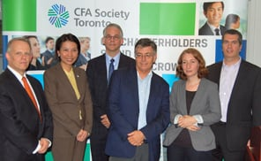 The CFA Society Toronto celebrates the winners of the inaugural Financial Journalism Award on Thursday, Oct. 10, 2013.
