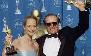 "Best Actress winner Helen Hunt and Best Actor winner Jack Nicholson of ""As Good As It Gets"" on March 23, 1998 at the 70th Annual Academy Awards at the Shrine Auditorium in Los Angeles. (HECTOR MATA/AFP/Getty Images)"