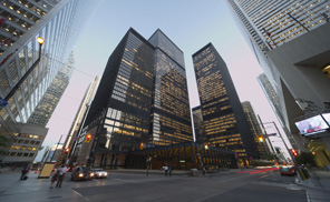 Office buildings in center of Toronto at dusk. (Getty Images)