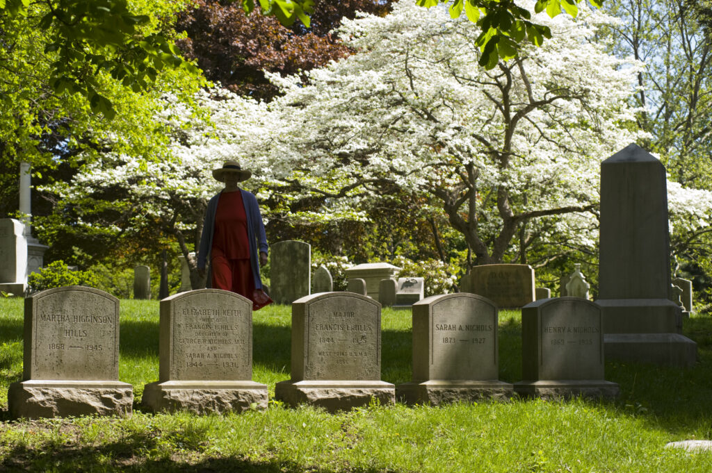 Headstones and visitor at Mount Auburn Cemetery (Lou Jones/Getty Images)