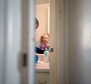 Single-mom Rosalind Tantalo relies on licensed daycare for her 3-year-old daughter so she can concentrate on her downsizing business, Fresh Start Solutions. (Photograph by Darren Calabrese)