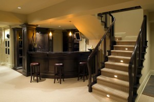 Delightful Renovated Modern Basement With Bar And Carpet (Getty Images/Kevin Miller) Amazing Pictures