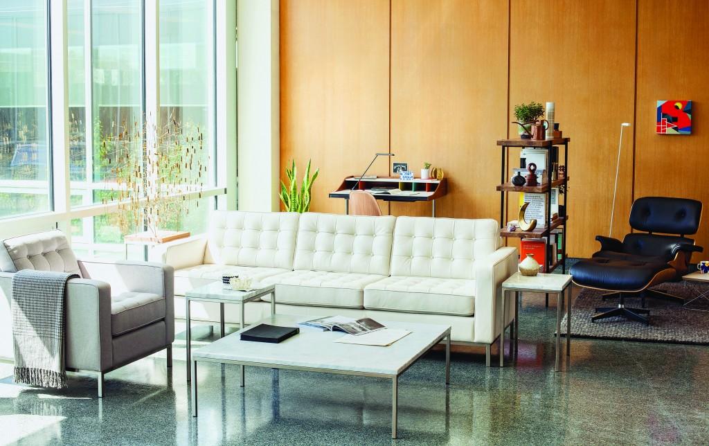 Reverie apartment sofa in custom leather (eq3.com) $2,099