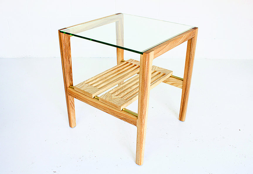 Two custom-made minimalist T5 side tables with several trays (gamla.ca) $2,500