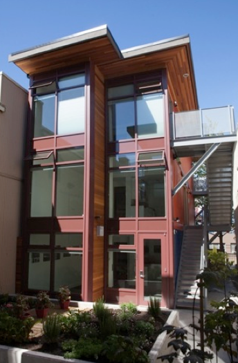 Oneesan's exterior design aesthetics focused on retaining container characteristics (www.atira.bc.ca)