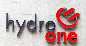 Hydro One sign in the building headquarters wall, the