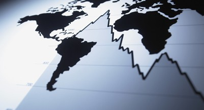 World map on descending line graph investing outlook