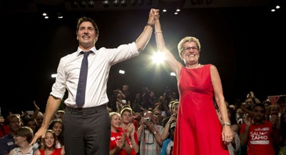 TORONTO, ON - AUGUST 17: Premier Kathleen Wynne joined Liberal Party of Canada leader Justin Trudeau for an election rally in Toronto Centre Monday night.        (Lucas Oleniuk/Toronto Star via Getty Images)
