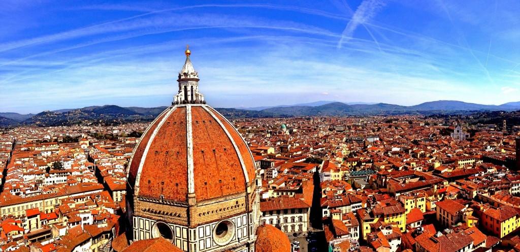 Duomo Santa Maria Del Fiore And Houses Against Blue Sky
