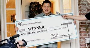 Man receiving one billion dollar check, interviewed by television crew