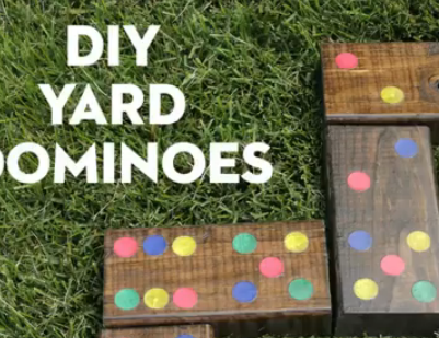 Long weekend fun, yard dominoes