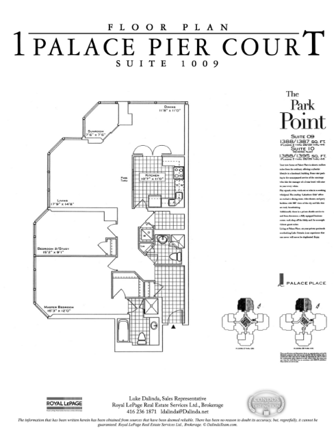 (Floor plan for Palace Pier condo in Toronto, Ont.)
