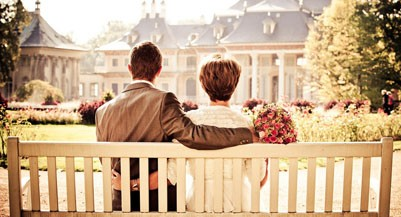 spousal rrsps man woman sitting on bench