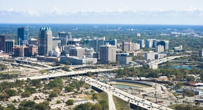 Aerial view of buildings in a city, Orlando, Florida, USA