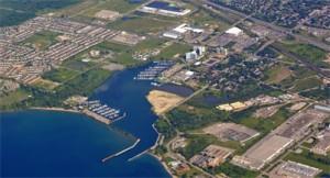 aerial view of the Windsor bay park area along lake Ontario in Oshawa Ontario Canada