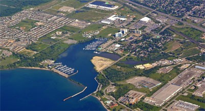 aerial view of the Windsor bay park area along lake Ontario in Oshawa Ontario Canada