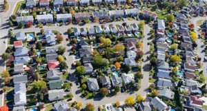 Aerial view over the Montreal suburb and middle class homes. (FOTOimage/Getty Images)
