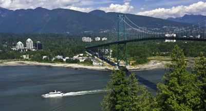 Lions Gate Bridge Crosses Burrard Inlet To West Vancouver From Stanley Park