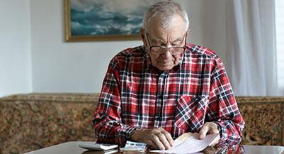 senior retiree man planning for retirement