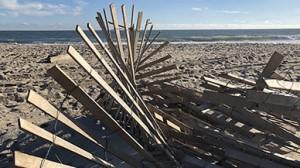Twisted fence on a beach