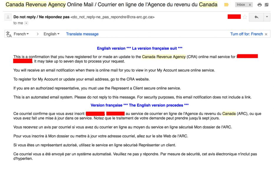 This email is not a CRA scam
