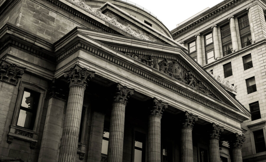The view of the columned entrance of the Bank Of Montreal museum in Montreal.