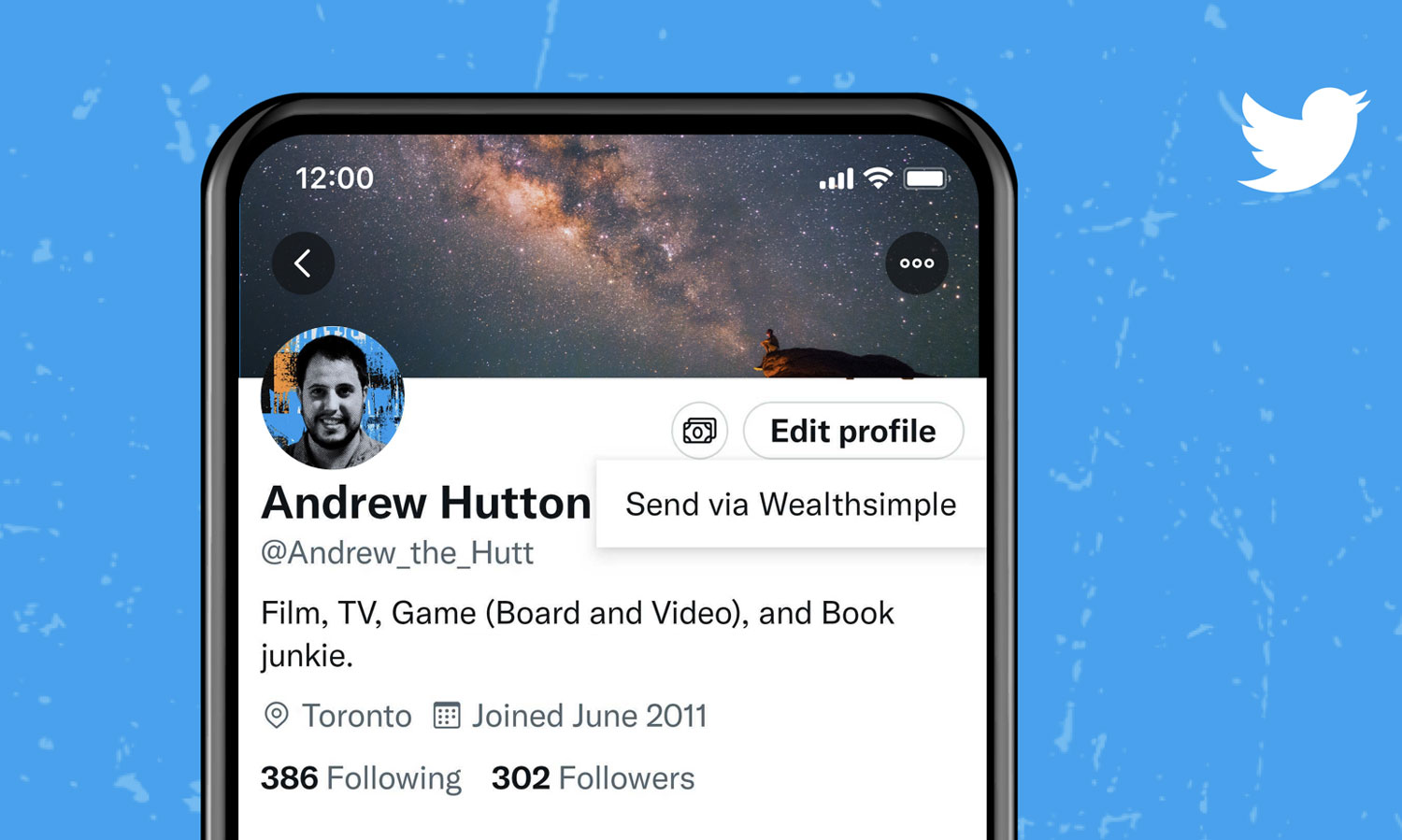 By tapping the top right corner of a Twitter profile page, you can tip an account using a Wealthsimple cash account.