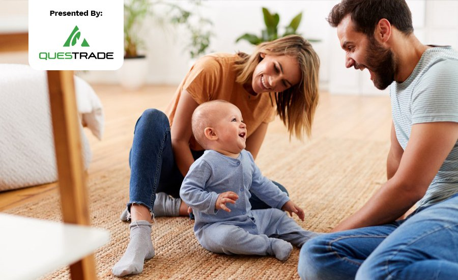 A young family playing with their toddler on the floor. A Questrade logo is sits overtop of the image.