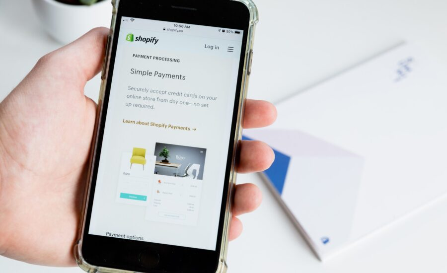 Shopify app on mobile phone