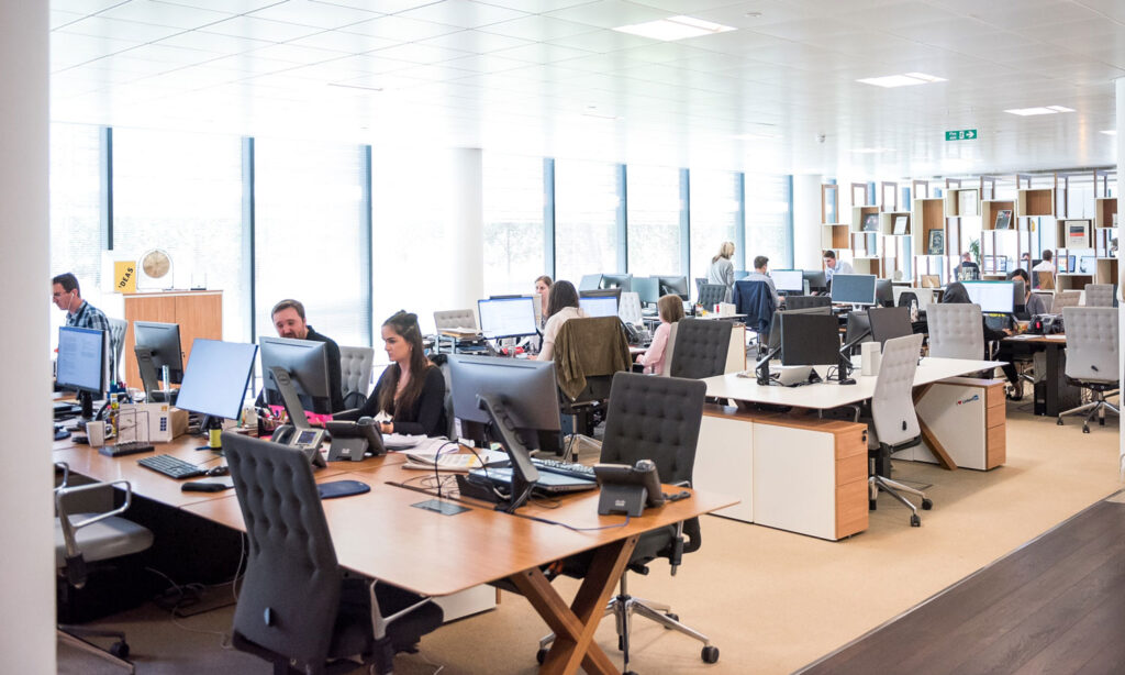 A roomful of life insurance brokers in a call centre