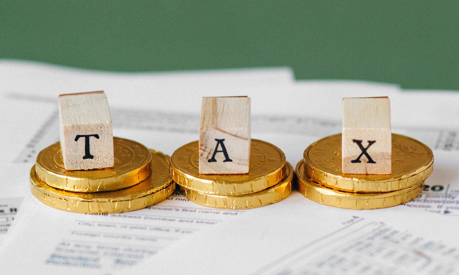 Tax spelled out with wooden blocks