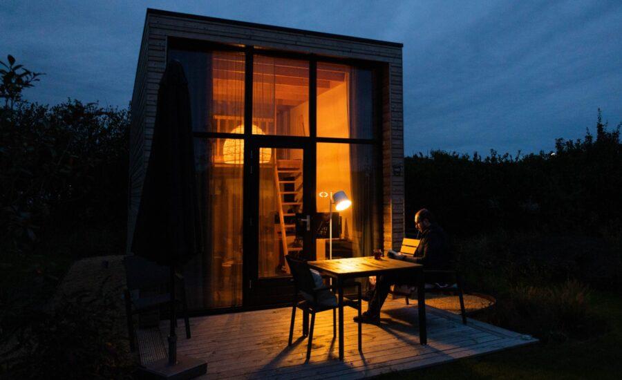 tiny house exterior at sunset