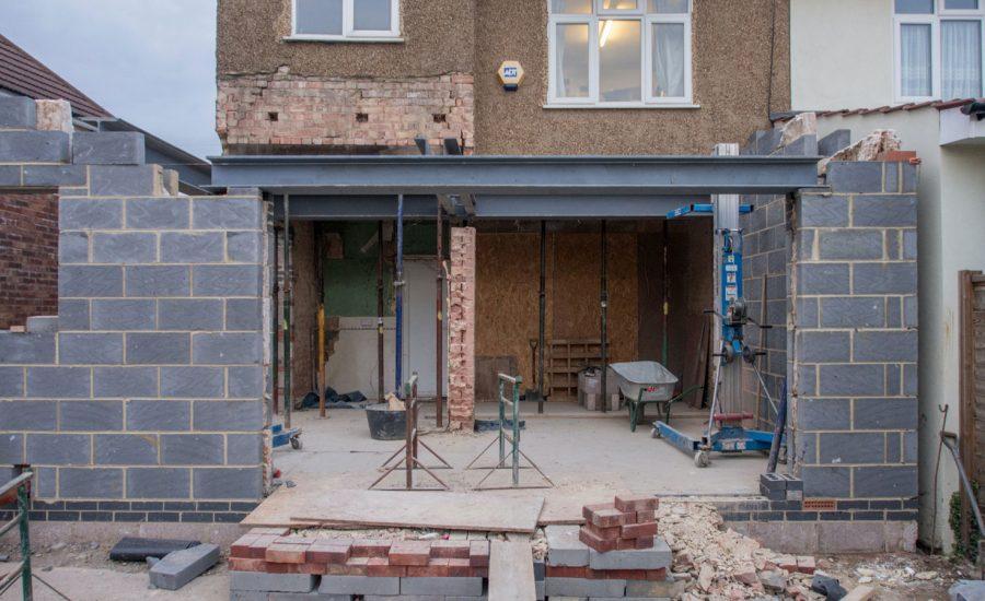 A home being rebuilt after substantial structural damage.