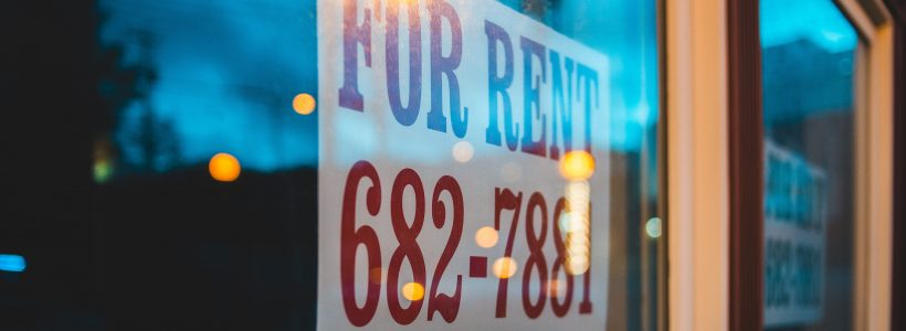 for rent sign in window