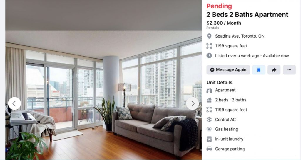Website listing for a two-bedroom on Spadina for $2,300