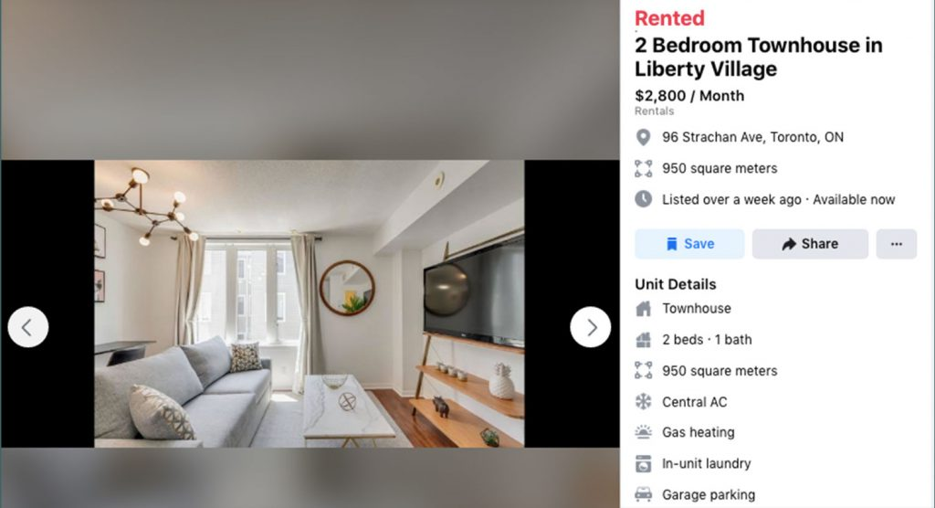 A website listing for a two-bedroom townhouse in Liberty Village for $2,800