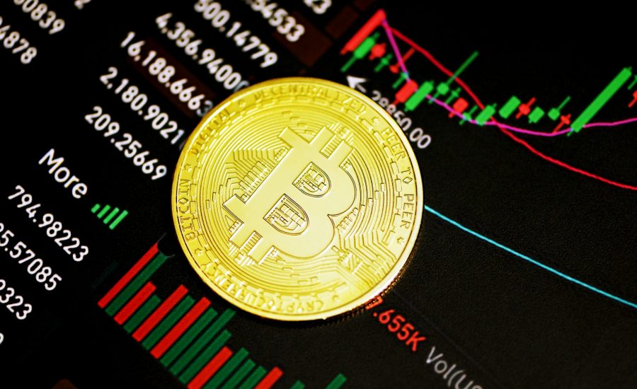bitcoin on stock chart background