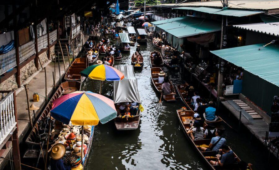 boats at market in Bangkok, Thailand