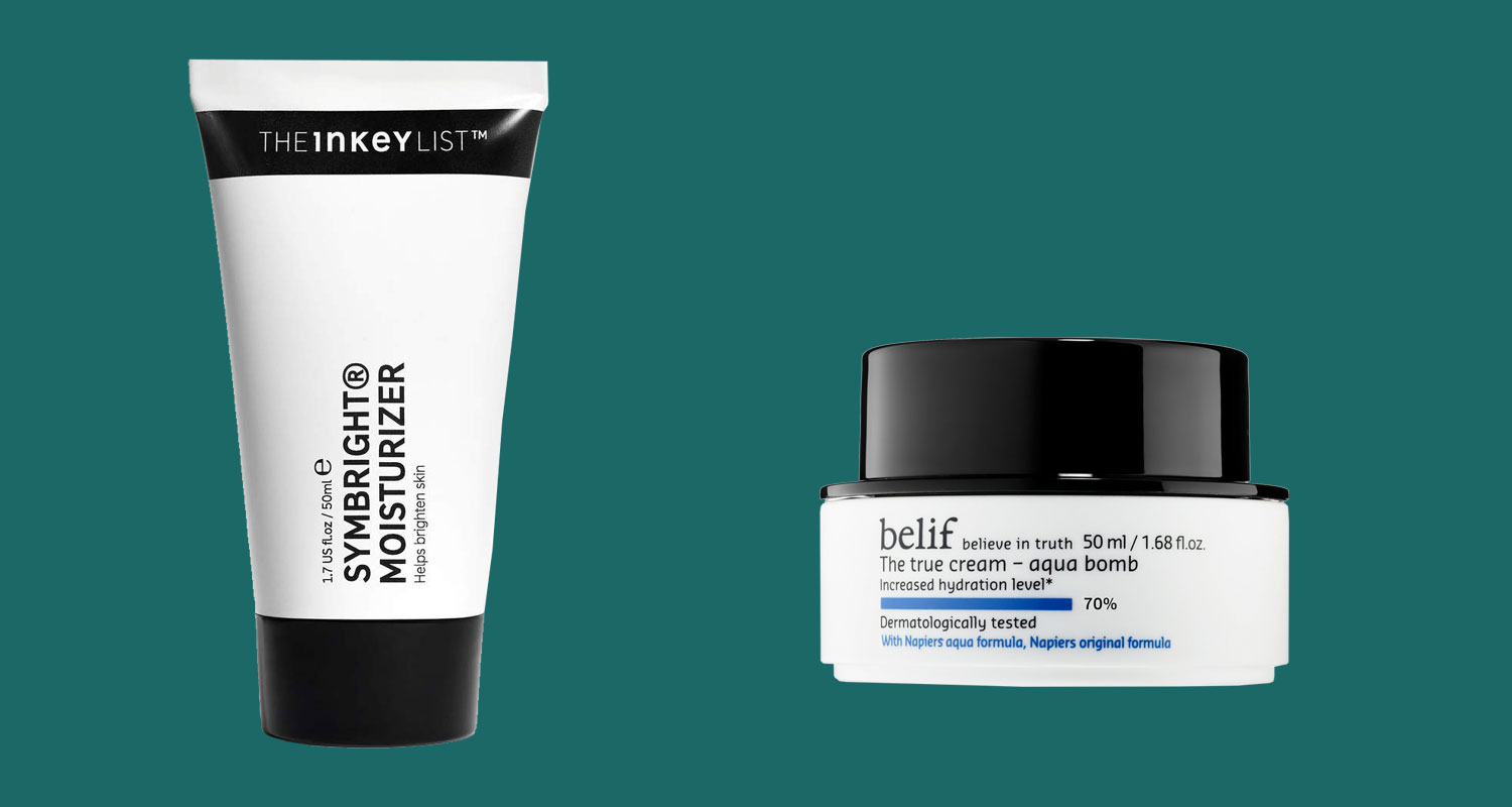 Inkey moisturizer in a tube, and Belif moisturizer in a small tub.