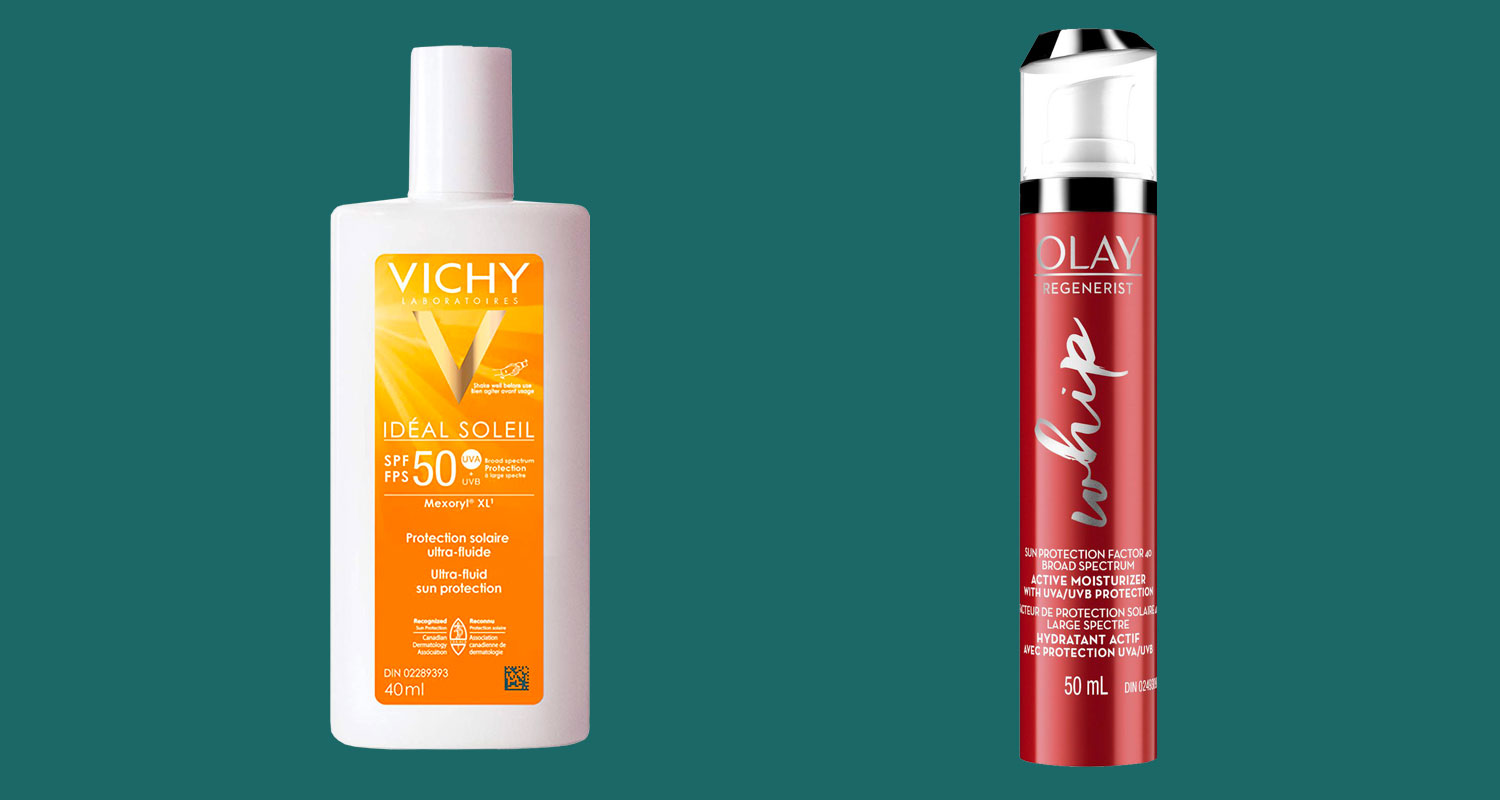 A bottle of Vichy sunscreen, and a pump of Olay face moisturizer with SPF