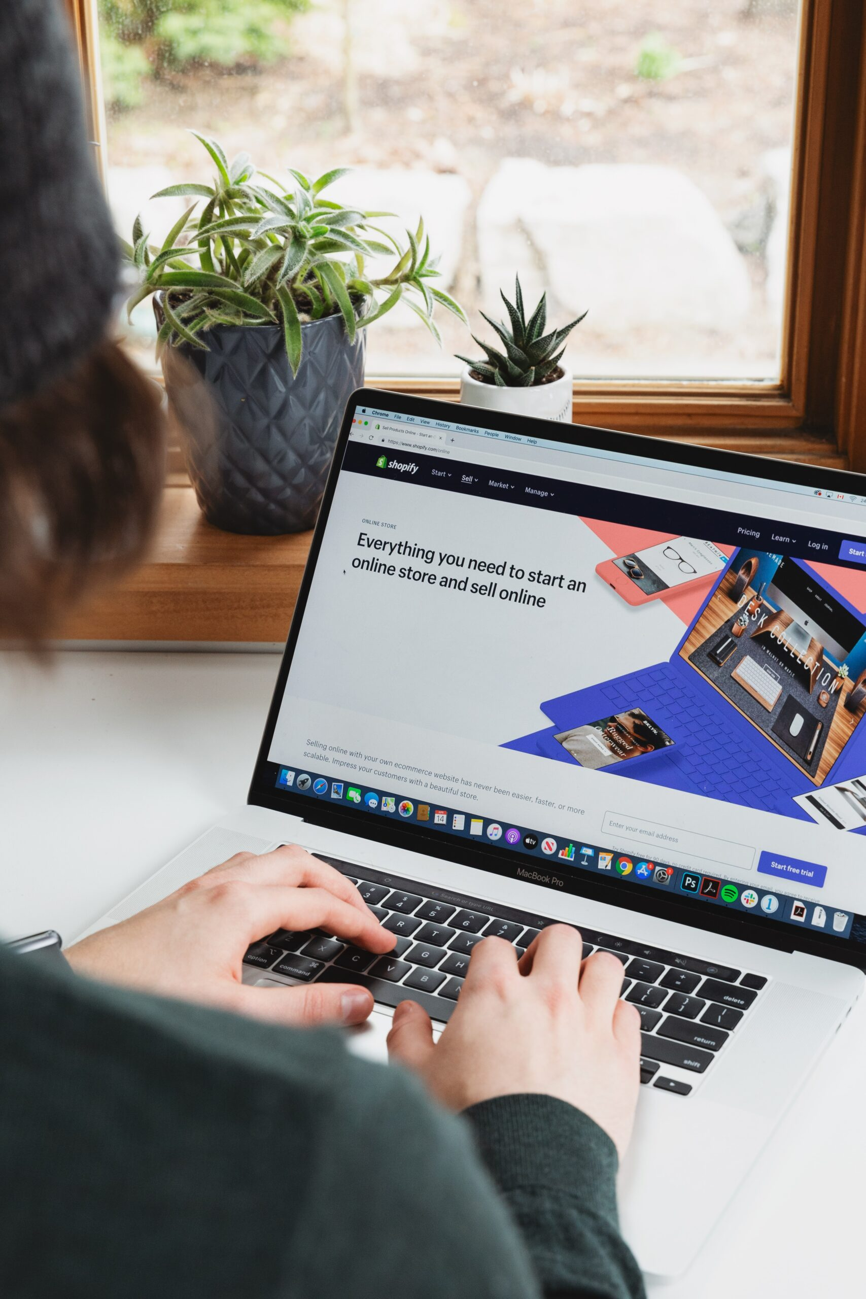 shopify site on laptop screen