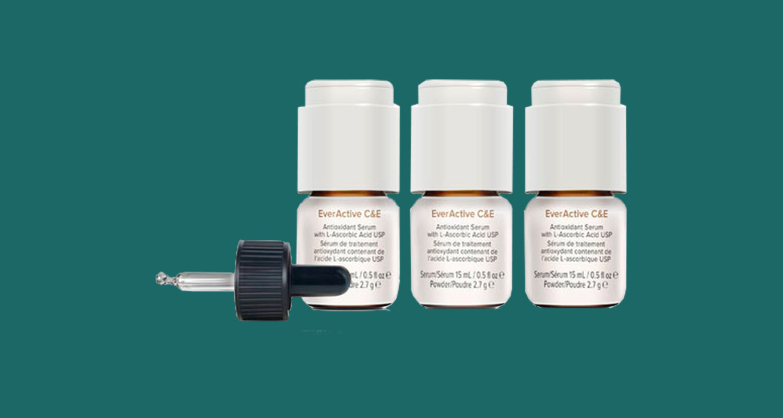 three small vials of vitamin C product