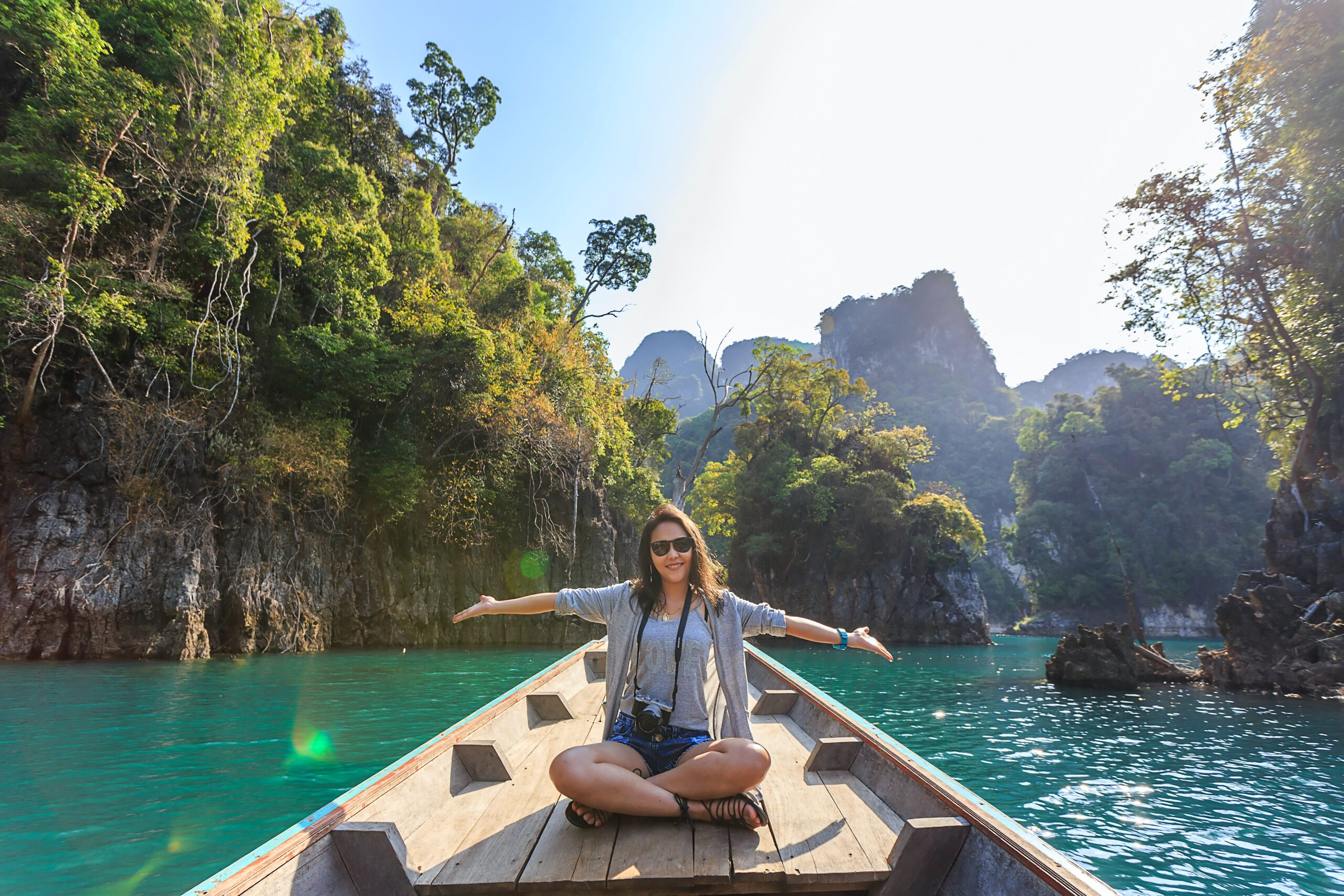 woman on vacation in boat